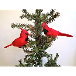 "RAZ Imports - 7"" Clip-On Cardinal Ornaments - Set of 2"