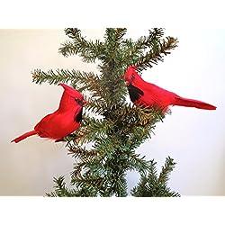 "RAZ Imports - 7"" Clip-On Cardinal Ornaments - Set of 2"