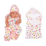 Samber Newborn Baby Blanket Baby Infant Toddlers Wrap Quilt Knitted Cotton Printed Quilt Hooded Hands-Free Strap Baby Towel Bath Towel Washcloth