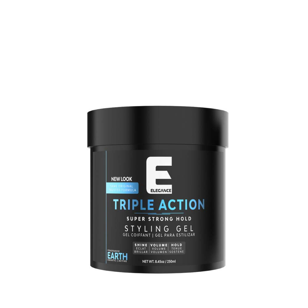 ELEGANCE GEL Triple Action Hair Gel, Blue, 8.8 Oz