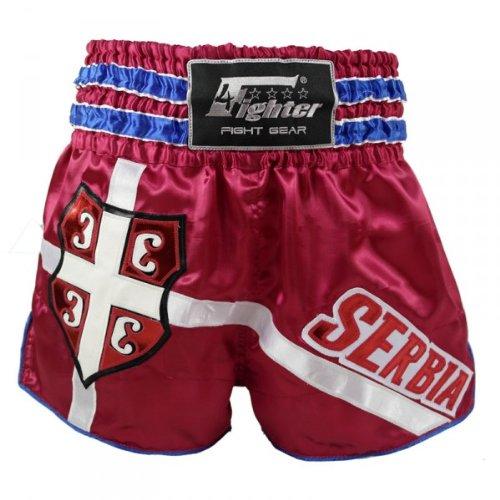 4Fighter Muay Thai Shorts National Serbien im Design des Nationaltrikots