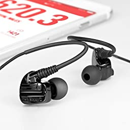 Brainwavz XFIT XF-200 In-Ear Sport Earbuds Noise Isolating Earphones Stereo Headphones Remote & Microphone for Apple & Android Phones (Black)