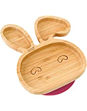 Baby Toddler Bunny Suction Plate, Stay Put Feeding Plate, Natural Bamboo
