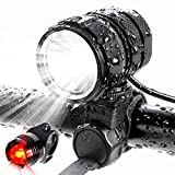 ADAMITA USB Rechargeable LED Bike Light, Road Bicycle Headlight,1200 Lumens Waterproof Front and Back Bicycle Lights Taillight with 4400 mAh Battery Safety Bike Lights Review