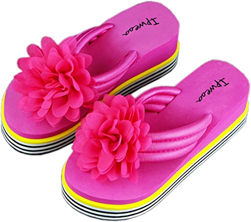 bettyhome Women Lady Girls 2.36 Inch Rainbow Sole Flowers Thongs Comfortable Casual Wedges Sandals Beach Flip Flops Slippers Rose Ke1HtV