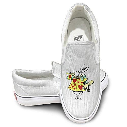 [GD Alice In Wonderland - Rabbit Sportstyle Unisex Flat Canvas Shoes Sneaker 43 White] (Child White Rabbit Costume Alice In Wonderland)