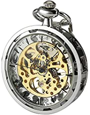 VIGOROSO Mens Classic Steampunk Pocket Watch Gold Skeleton Hand Wind Mechanical Watches in Box
