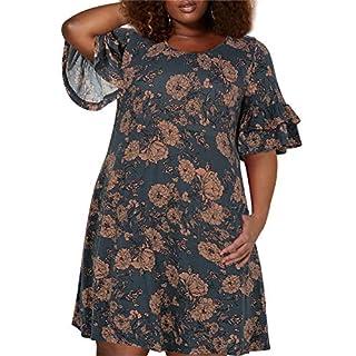 Nemidor Women's Ruffle Sleeve Jersey Knit Plus Size Casual Swing Dress with Pocket (Pink Flower, 22W)