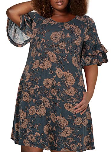 Nemidor Women's Ruffle Sleeve Jersey Knit Plus Size Casual Swing Dress with Pocket (Pink Flower, 26W)