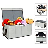 ZERO JET LAG Collapsible Toy Chest Box Large Storage Basket with Flip-Top Lid Double Sorter bin for Kids Huge Storage Boxes with Handles for Dog 600D Oxford for Bedrooms, Closets, Playroom (Grey) Image