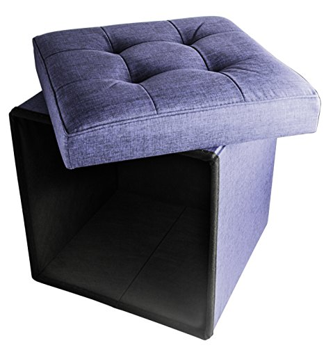 Folding cube storage ottoman with padded seat 15 x 15 for Navy blue chair and ottoman