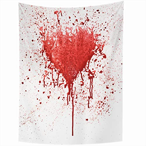 Ahawoso Tapestry 50x60 Inch Expression Horror Broken Heart Red Spot Shape Abstract Bleeding Blood Love Splatter Wall Drips Wall Hanging Home Decor for Living Room Bedroom Dorm