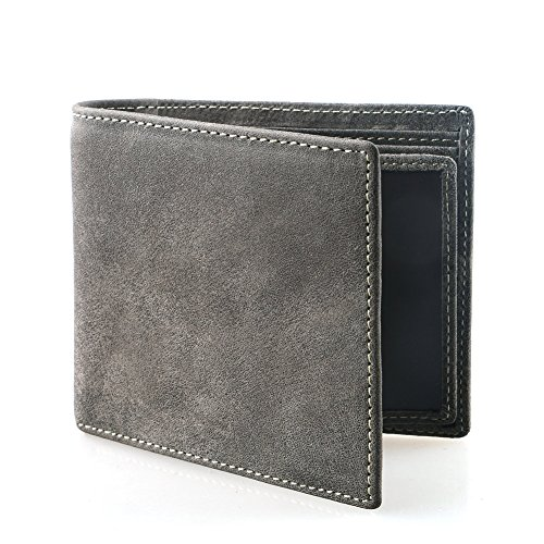 AYOUYA Genuine Leather Wallet Card Holder Bifold Wallet Men's Wallet With Large Capacity (Gray)
