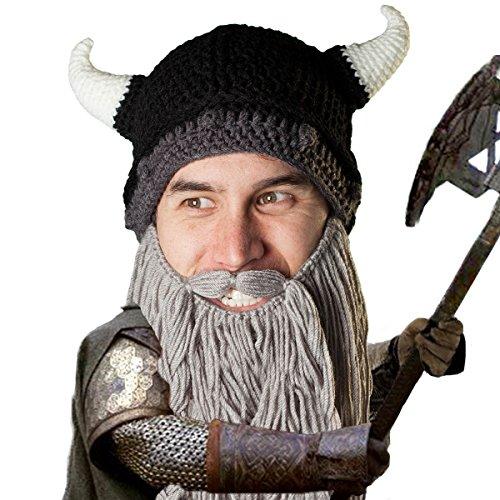 Beard Head Viking Pillager Beard Beanie - Funny Knit Horned Hat and Fake Beard Grey ()