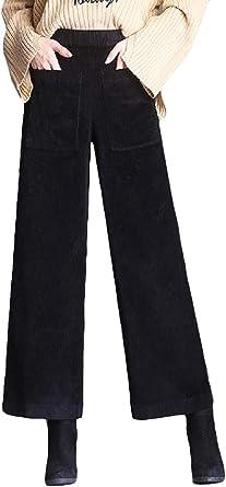 Cromoncent Pantalones Palazzo Elastizados Rectos De Pana Para Otono E Invierno Para Mujer Negro Small Amazon Es Ropa Y Accesorios