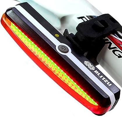 Ultra Bright Bike Light Blitzu Cyborg 168T USB Rechargeable Bicycle Tail Light.