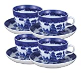 HIC Blue Willow Cups and Saucers Set, Fine White Porcelain, 8-Ounces, Set of 4