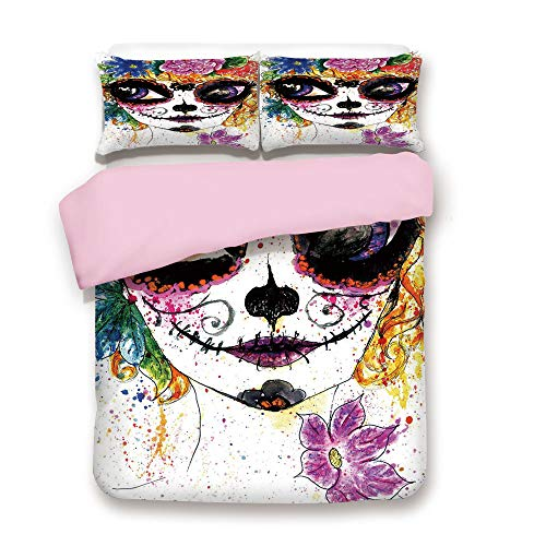 Pink Duvet Cover Set,Queen Size,Cultural Celebration Mexican Traditional Make Up Girl Face Watercolors Decorative,Decorative 3 Piece Bedding Set with 2 Pillow Sham,Best Gift For Girls -