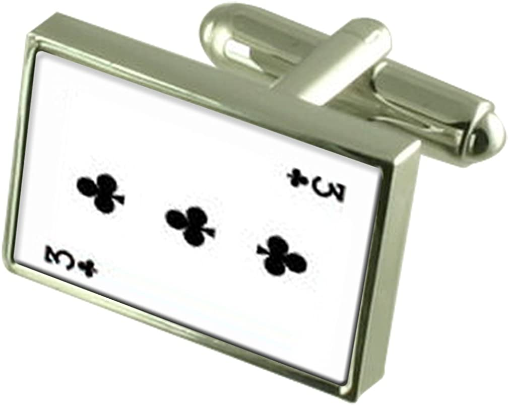 Club Playing Card number 3 Cufflinks Crystal Tie Clip Bar Box Set Engraved