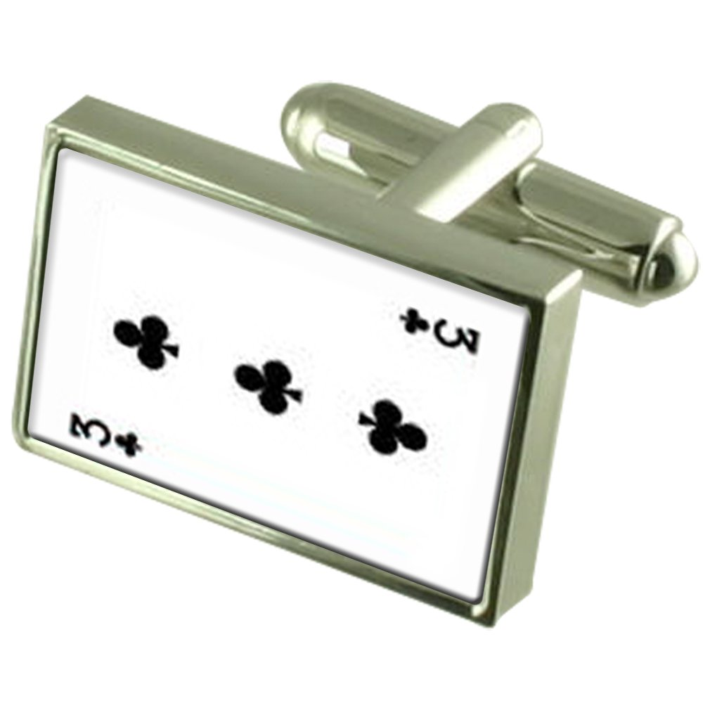 Select Gifts Club Playing Card Number 3 Cufflinks with Pouch
