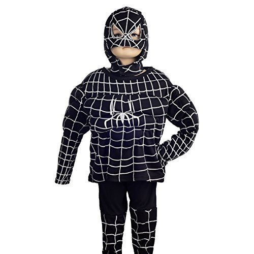 Dressy Daisy Boys' Black Spiderman Muscle Superhero Fancy Party Halloween Costume Outfit Size 3T-4T -