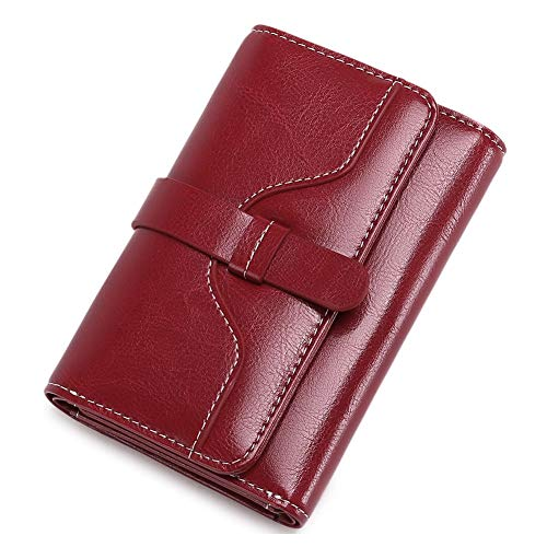 Women's Wallet Genuine Vintage Leather Purse Credit Card Clutch Holder for Women (B-Red -