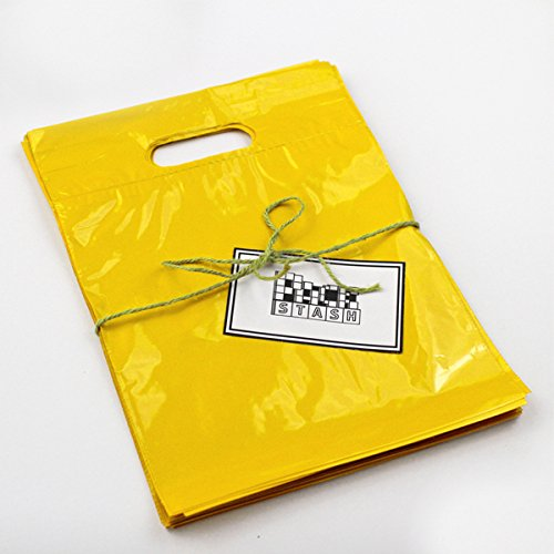 Packstash 9'' x 12'' (100 QTY) YELLOW Retail Merchandise Plastic Shopping Bags - (SMALL) Premium Tear-Resistant Film, Double Thick Handles, Vibrant Glossy Finish by Packstash