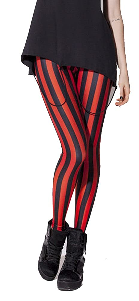 Women's Sexy Pirate Red & Black Stripe Leggings - DeluxeAdultCostumes.com