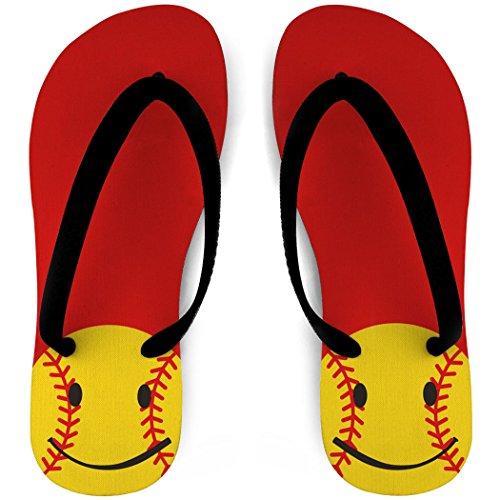 Chanclas De Softball Smiley Red