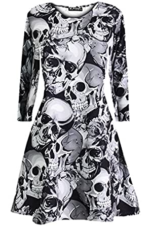 Womens Ladies Halloween Prints Long Sleeves Spooky Scary Flared Swing Dress