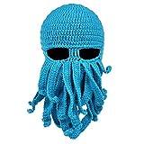 Vbiger Beard Hat Beanie Hat Knit Hat Winter Warm Octopus Hat Windproof Funny for Men & Women, Light Blue, One Size