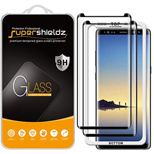 (2 Pack) Supershieldz for Samsung (Galaxy Note 8) Tempered Glass Screen Protector with (Easy Installation Tray) Anti Scratch, Bubble Free (Black)