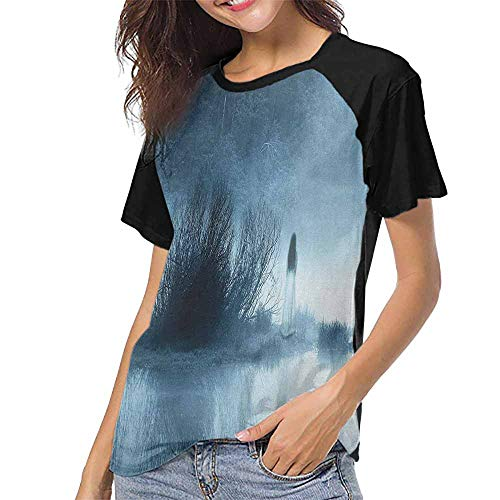 Horror House,T Shirt Print Short Sleeve S-XXL(This is for Size Extra Extra Large) Mysterious Women in Foggy Forest Bushes Nightmare Haze Lady Scary Hell Work of A,Women Summer -