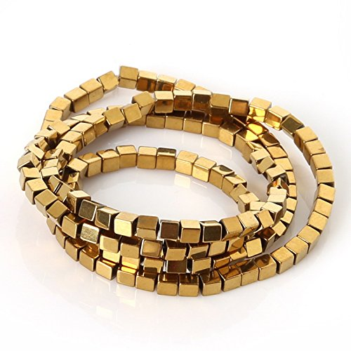 jennysun2010 Natural Hematite Gemstone Square Cube 4mm Metallic Gold Beads 15.5'' Healing 1 Strand for Bracelet Necklace Earrings Jewelry Making Crafts Design