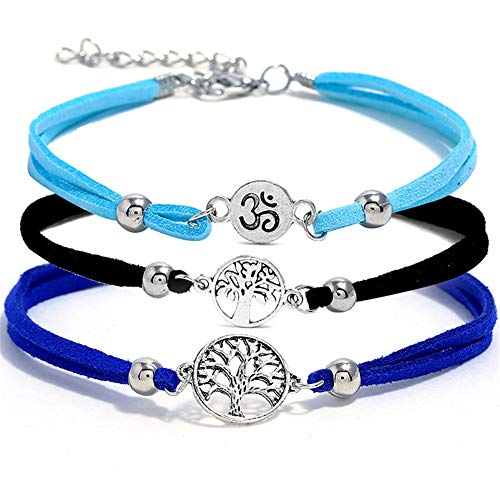 3 pcs Waxed Rope Handmade Tree of Life Charm Anklets Silver Plated Wave Shaped Chain Ankle Bracelet Set Foot Chain Beach Jewelry ()