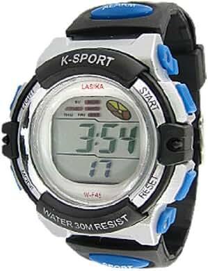 TOOGOO(R) Black Blue Water Resistant Coldlight Alarm Sports Watch
