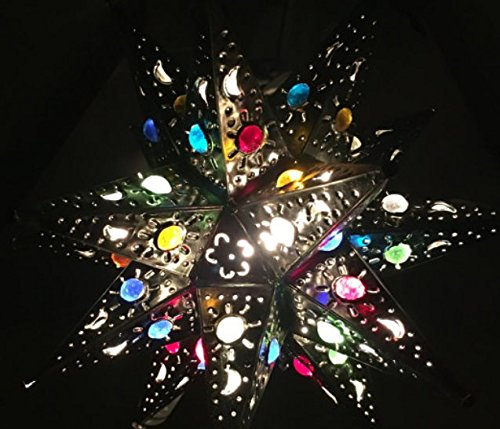 Moroccan Star - Unique and Beautiful Handmade Hanging Star Lamp with 12 POINTS! for Home and Garden Decor By SHOPIMUNDO. Outdoor Hanging Decorative Star Lantern with Marbles, you will love it! Fast shipping!