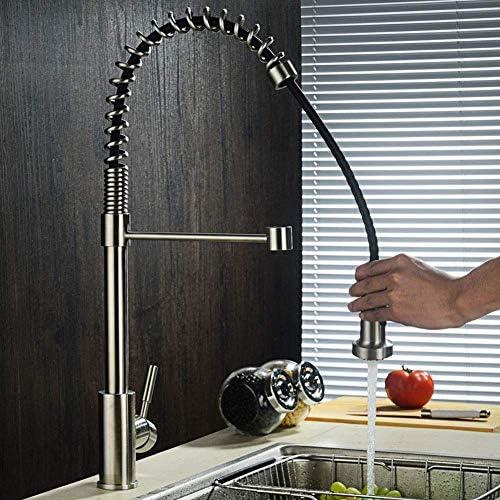 ZYL-YL 新しいキッチンをタップし、キッチンのシンクの蛇口つや消しステンレススチール製のキッチン春の蛇口プル型温水と冷水多機能シンクタップ