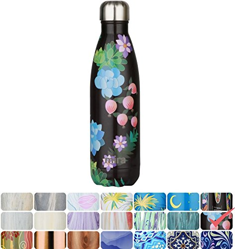 MIRA Vacuum Insulated Travel Water Bottle | Leak-proof Double Walled Stainless Steel Cola Shape Portable Water Bottle | No Sweating, Keeps Your Drink Hot & Cold | 17 Oz (500 ml) (Paradise)