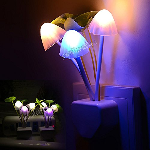 LED Mushroom Night Light Colorful Sensor Bed Wall Lamp Home Romantic NEW