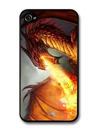 Cool Goth Rock Dragon Breathing Fire Design case for iPhone 4 4S