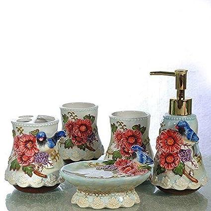 PLYY Cerámica 3D Flores talladas 5 Piezas Conjunto de Accesorios de Baño Jabonera de Regalo para