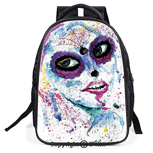 Backpack,L11.8xW6.3xH15.7inch,Grunge Halloween Lady with Sugar Skull Make Up Creepy Dead Face Gothic Woman Artsy,Suitable for men and women backpacks ()