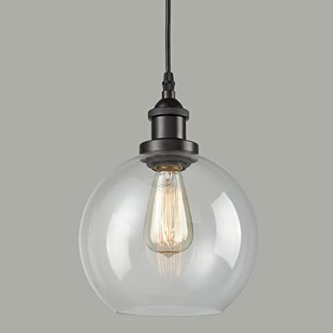 Superb CLAXY Ecopower Lighting Vintage Clear Glass Globe Pendant Oil Rubbed Bronze  Kitchen Hanging Light