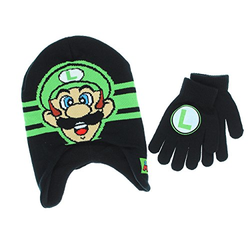 Super Mario Boys Beanie Hat and Gloves Set (One Size, Green)