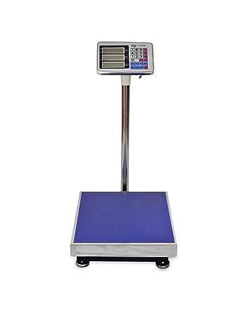 Báscula Industrial 300kg/50g, Pantalla LCD Digital, Gran Plataforma De Acero Inoxidable De 50x40cm, Balanza Industrial De Paquetes Postales Para ...
