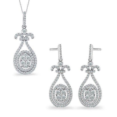 18K White Gold 1.13 Carat Natural Round Cut Diamond Drop Dangle Earrings Pendant Set (Free Silver Chain) ()