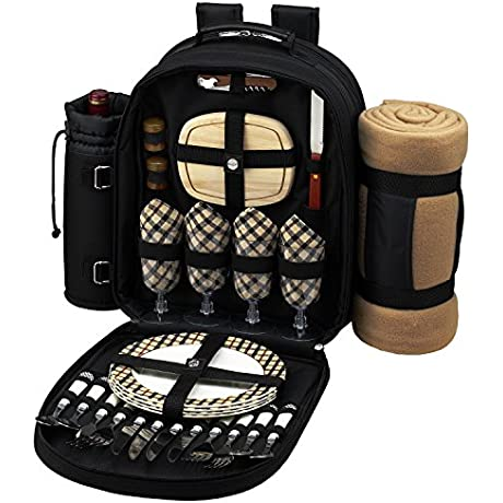 Picnic At Ascot Deluxe Equipped 4 Person Picnic Backpack With Cooler Insulated Wine Holder Blanket London Plaid