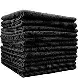 (12-Pack) 14 in. x 14 in. Commercial Grade All-Purpose Microfiber HIGHLY ABSORBENT, LINT-FREE, STREAK-FREE Cleaning Towels - THE RAG COMPANY (Black)