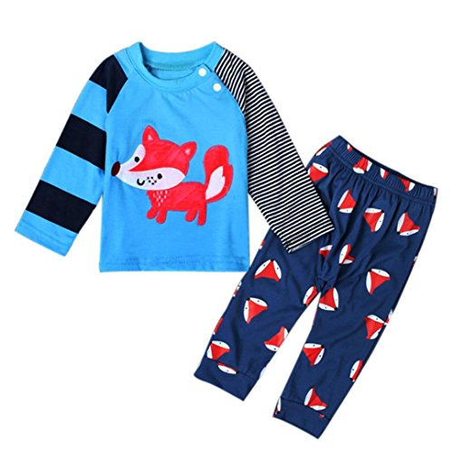 gotd 2pc newborn baby boy girl fox tops shirt pants clothes 12 months blue